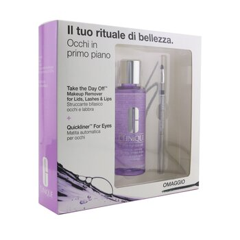 Clinique Eyes In The Foreground Set: Take The Day Off Makeup Remover 125ml/4.2oz+ Quickliner For Eyes 0.3g/0.01oz  2pcs