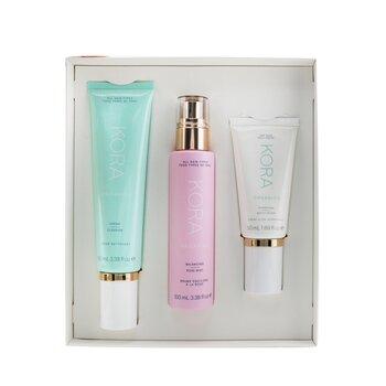 מערכת 3 שלבים - עור יבש: Cream Cleanser 100ml + Balancing Rose Mist 100ml + Hydrating Moisturizer 50ml  3pcs