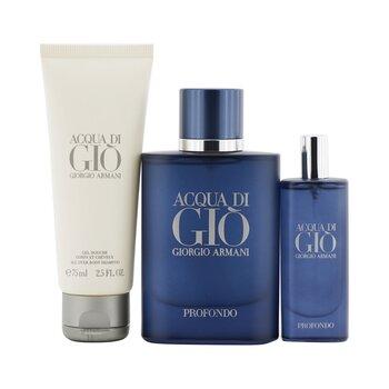 Acqua Di Gio Profondo Coffret: Eau De Parfum Spray 75ml/2.5oz + Eau De Parfum Spray 15ml/0.5oz + All Over Body Shampoo 75ml/2.5oz  3pcs