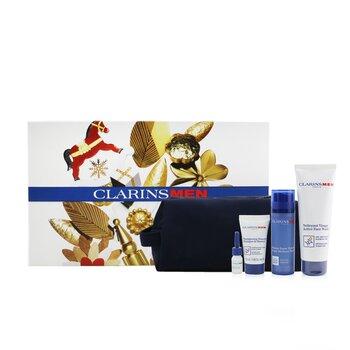 Men Essentials 4-Pieces Set: Super Moisture Balm 50ml + Active Face Wash 125ml + Shampoo & Shower 30ml + Shave Ease Oil 3ml  4pcs