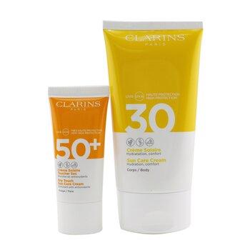 Golden Summer Sunday Gift Set: Sun Care Body Cream SPF 30 150ml+ Dry Touch Sun Care Cream For Face SPF 50 30ml  2pcs