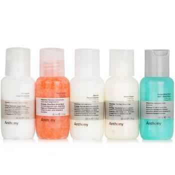 Starter Kit 5-Pieces Kit (For All Skin Types): Cleanser 30ml + Scrub 30ml + Moisturizer 30ml + Hair & Body Wash 30ml +  Shave Cream 30ml  5x30ml/1oz