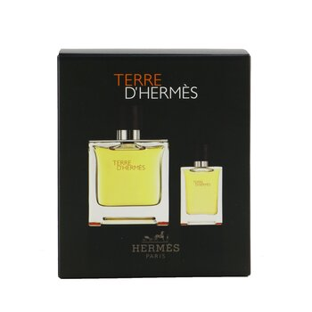 Terre D'Hermes Pure Parfum Coffret: Pure Parfum Spray 75ml/2.53oz + Pure Parfum Spray 12.5ml/0.42oz  2pcs