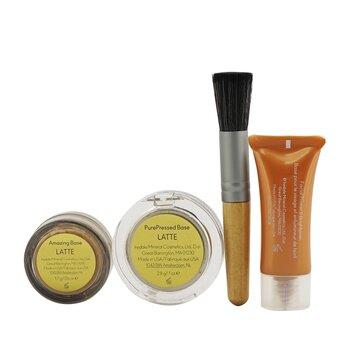 Make Up Set (1x Primer 7ml + 1x Loose Mineral Powder 1.7g + 1x Mineral Foundation 2.8g + 1x Mini Powder Brush)  4pcs+1bag