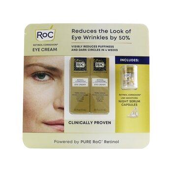 Retinol Correxion Eye Cream Duo Set: 2x Eye Cream 15ml + Line Smoothing Night Serum 10capsules  3pcs