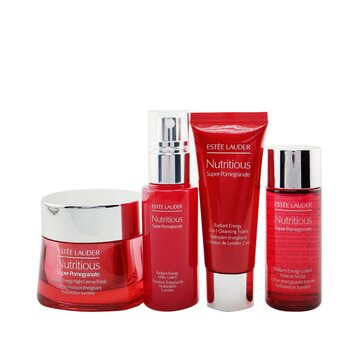 Nutritious Super-Pomegranate Nourish All Night Set: Night Creme+ Milky Lotion+ Lotion Intense Moist+ Cleansing Form..(Box Slightly Damaged)  4pcs+2bags