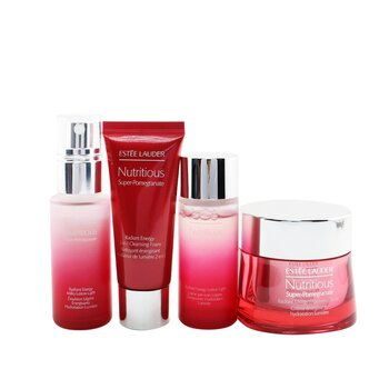 Nutritious Super-Pomegranate Reveal A Rosy Radiance Set: Moisture Creme+ Milky Lotion Light+ Lotion Light+ Cleansing Foam...(Box Slightly Damaged)  4pcs+2bags