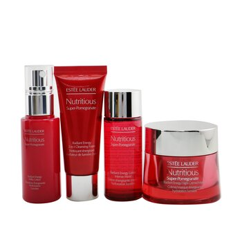 Nutritious Super-Pomegranate Nourish All Night Set: Night Creme+ Milky Lotion+ Lotion Intense Moist+ Cleansing Form...  4pcs+2bags