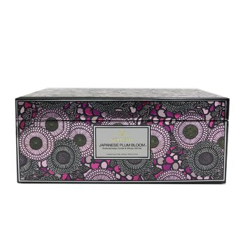 Scalloped Edge Candle & Reed Diffuser Coffret - Japanese Plum Bloom  2pcs