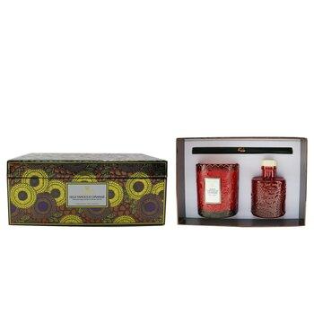 Scalloped Edge Candle & Reed Diffuser Coffret - Goji Tarocco Orange  2pcs